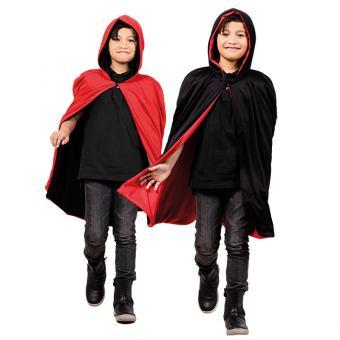 Kinder-Wendeumhang mit Kapuze Schwarz/Rot