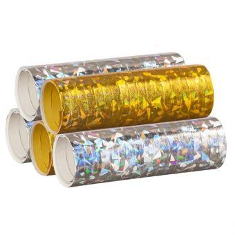 Luftschlangen Holografisch Silber Gold 5 Rollen