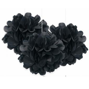 3 Pompoms Fluffy in Schwarz ø23cm