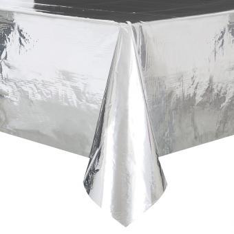 PVC-Tischdecke Silber glänzend 137x274cm