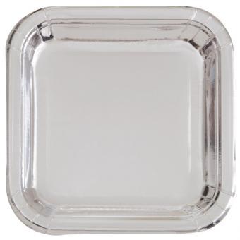 Pappteller Square Silber Glänzend 18cm 8 Stück