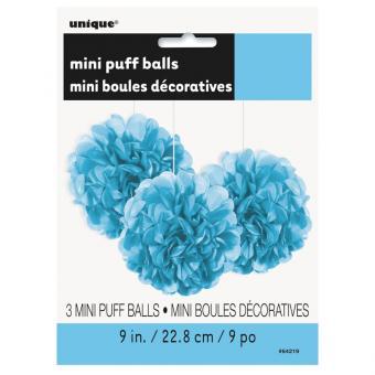 3 Pompoms Fluffy in Hellblau ø23cm