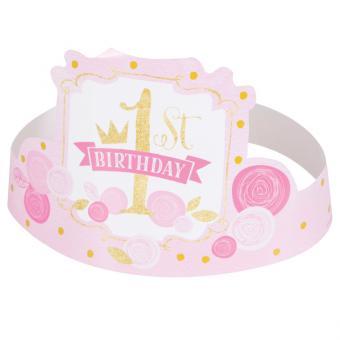 Tiaras 1st Birthday Pink & Gold 6 Stück