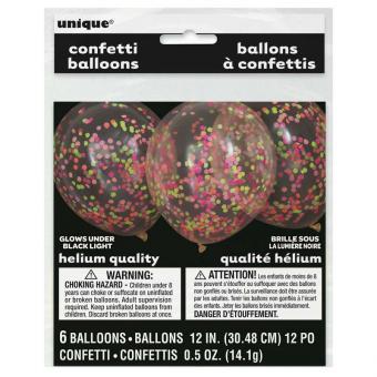 6 Neon Konfetti-Ballons