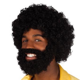 Perücke Afro mit Bart schwarz