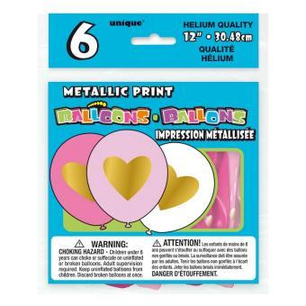 Latexballons Herz gold, pink, weiß 30cmØ 6 Stück