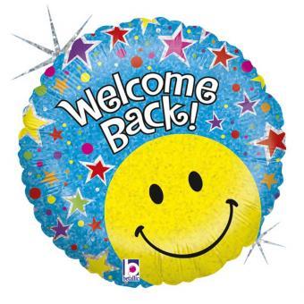 Folienballon Welcome Back Smiley rund holografisch