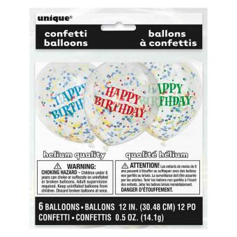 Latexballon Konfetti ca. 30cmØ/6St. Happy Birthday