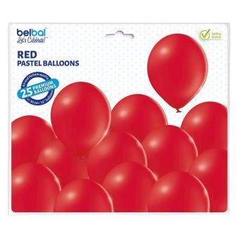 Latexballons Pastell Rot 30cmØ 25 Stück