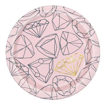 Pappteller Bride to be Diamond 18cmØ 8 Stück