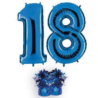 Riesenzahl 18 blau Heliumgefüllt 101cm Hoch