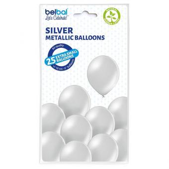 Latexballons Metallic Silber ca.12cmØ 25 Stück