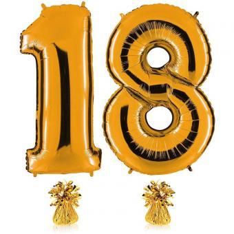 Riesenzahl 18 Gold Heliumgefüllt 101cm Hoch