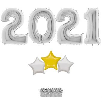 Riesenzahlen 2021 Silber Star Ballonset + Füllung