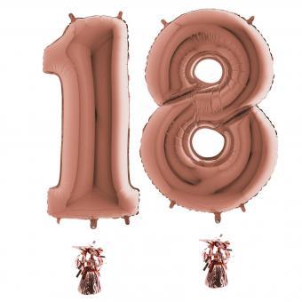 Riesenzahl 18 rosegold Heliumgefüllt 101cm Hoch