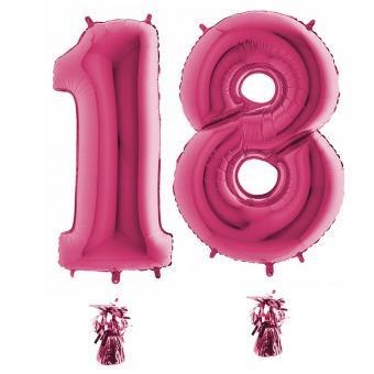 Riesenzahl 18 pink Heliumgefüllt 101cm Hoch