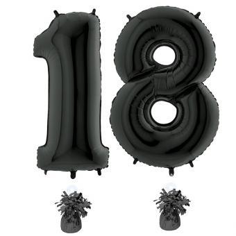 Riesenzahl 18 Schwarz Heliumgefüllt 101cm Hoch
