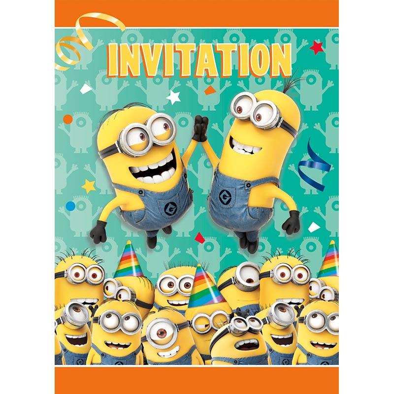 Zoom 8 Einladungskarten Minions